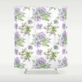 Desert Succulents Purple and Green Shower Curtain