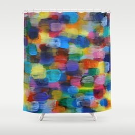 Colorful Abstract Art Brushstrokes in Yellow, Blue, Turquoise Shower Curtain