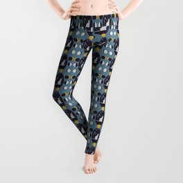 Kitty Ascension Moon Phase in Muted Blue Leggings