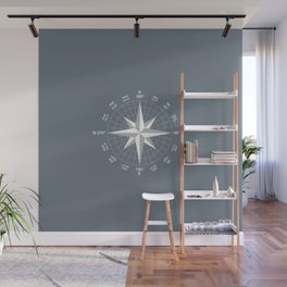 Compass in White on Slate Grey color Wall Mural