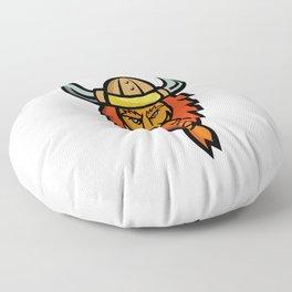 Angry Norseman Head Mascot Floor Pillow