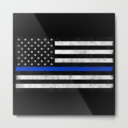 Thin Blue Line Flag 2 Metal Print