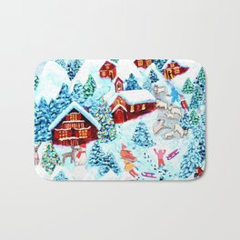 Swiss village in the snow, log cabins, snow days, Alpine watercolor painting by Magenta Rose Designs Bath Mat