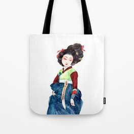 Watercolor Korean beauty - Dark Blue Tote Bag