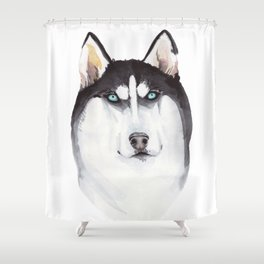 watercolor blue-eyed husky Shower Curtain