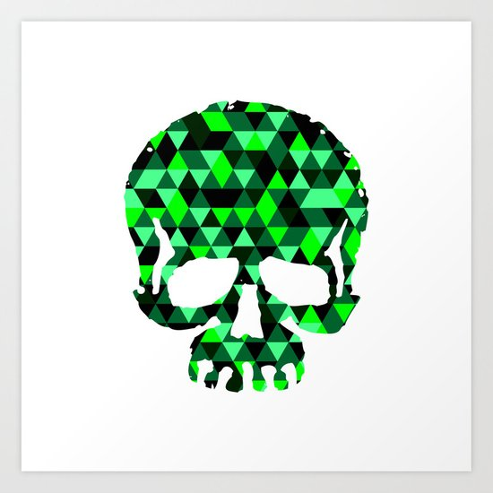 Triangle Camouflage Skull (WITHE) Art Print