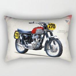 The Steve McQueen ISDT Motorcycle 1964 Rectangular Pillow