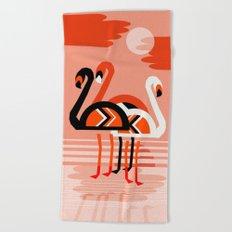 Posse - flamingo throwback nostalgia retro neon art print hipster trendy style minimal abstract geo Beach Towel