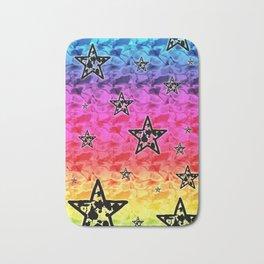 Rainbow Toxic Stars Bath Mat