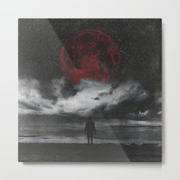 retreat - surreal and dark seascape with red moon Metal Print