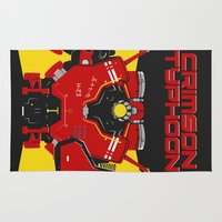 pacific rim Area & Throw Rugs featuring Pacific Rim - Crimson Typhoon - Minimal Poster by John Takacs