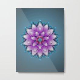 Embroidered look, purple Metal Print
