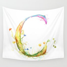 Letter C watercolor - Watercolor Monogram - Watercolor typography - Floral lettering Wall Tapestry