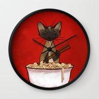ramen Wall Clocks featuring Ramen by Naomi VanDoren