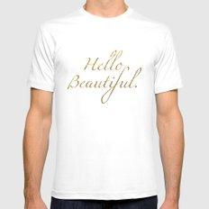 Hello Beautiful. MEDIUM White Mens Fitted Tee