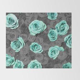 Teal Flower Throw Blanket
