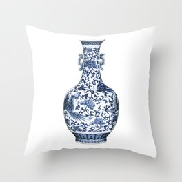 Blue & White Chinoiserie Porcelain Floral Vase with Flying Phoenix Throw Pillow