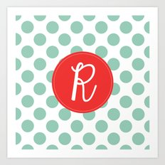 Monogram Initial R Polka Dot Art Print