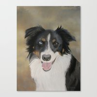 border collie Canvas Prints featuring Border Collie by A. Martin Pastel Art