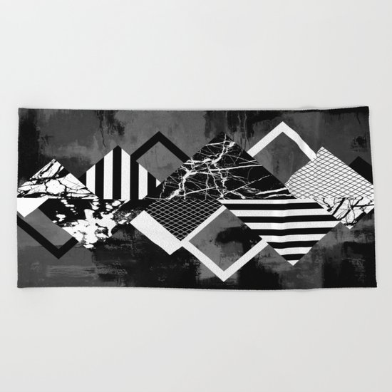 STAND OUT! In Black And White - Abstract, textured geometry! Beach Towel