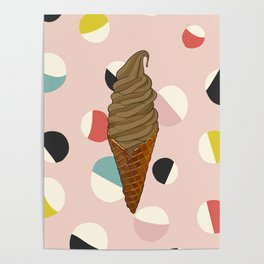 Chocolate Ice Cream Cone With Circle Pattern - Neapolitan Collection Poster