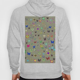 Numerous colorful butterflies on gray background. Hoody