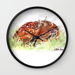 SLEEPY FAWN WATERCOLOR WOODLAND ANIMAL NURSERY COLLECTION Wall Clock