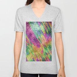 Abstract Neon Rainbow Sparkly Glitter Pattern Unisex V-Neck
