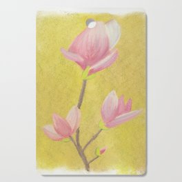 Magnolia with yellow background Cutting Board