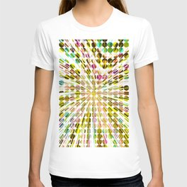 geometric circle abstract pattern in yellow pink blue T-shirt