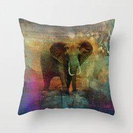 Abstract Grunge Elephant Digital art Throw Pillow