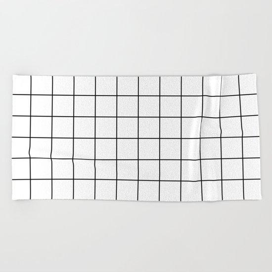 White Black Grid Minimalist Beach Towel