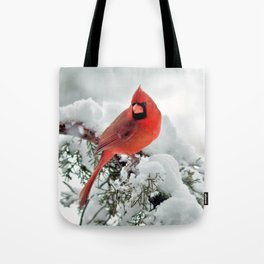 Cardinal on Snowy Branch #2 Tote Bag