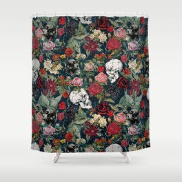 Distressed Floral with Skulls Pattern Shower Curtain