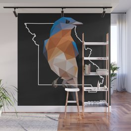Missouri - Eastern Bluebird (Black) Wall Mural