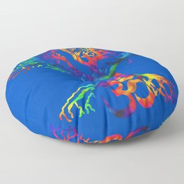 Tree of Life, Om Symbol Artist Hand Drawn Tie Dye Floor Pillow
