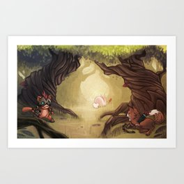 Catching the rabbit Art Print