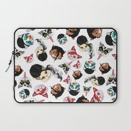 Pop Cats - Pattern on White Laptop Sleeve