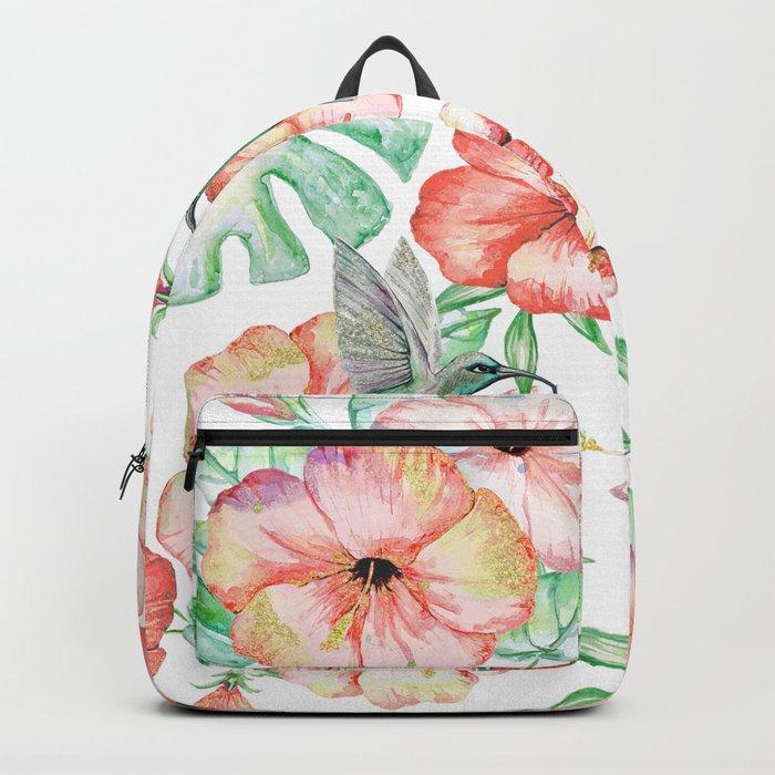 Hummingbirds + Hibiscus Backpack