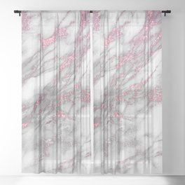 Gray & pink glitter faux messy marble texture Sheer Curtain