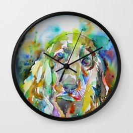COCKER - watercolor portrait Wall Clock