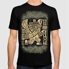 Aztec Eagle Warrior LARGE Black Mens Fitted Tee