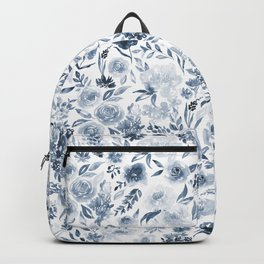 Watercolor florals in blue Backpack