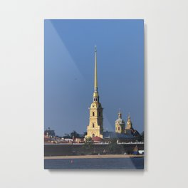 The spire of the Peter and Paul Cathedral and the embankment of the Peter and Paul Fortress Metal Print