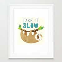 sloth Framed Art Prints featuring Sloth by Claire Lordon