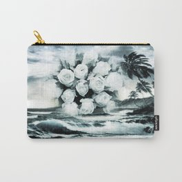 Sea and roses in black and white Carry-All Pouch