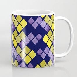 Mozaic pattern in faux gold, yellow, purple and navy indigo Coffee Mug