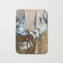 Compelling: a minimal, abstract mixed-media piece in gold, pink, black and white by Alyssa Hamilton Bath Mat