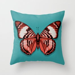 Coral butterfly - Red and turquose - fine art - modern - insect Throw Pillow
