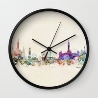 scotland Wall Clocks featuring glasgow scotland by bri.buckley
